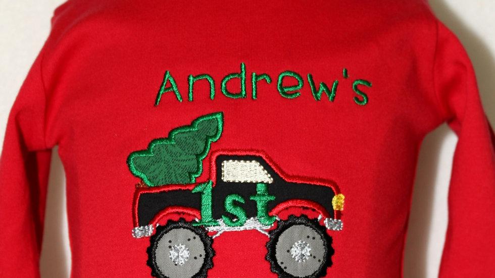 Boy 1st Christmas red bodysuit pickup truck Christmas tree shirt