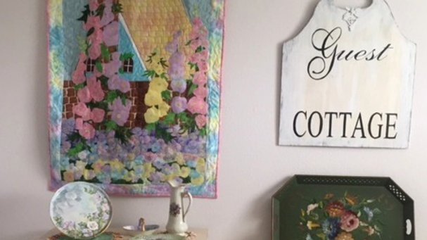 Country cottage flower garden handmade quilted wall hanging