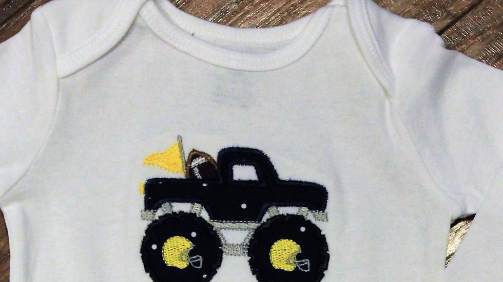 Monster truck football bodysuit maize and blue boy football shirt