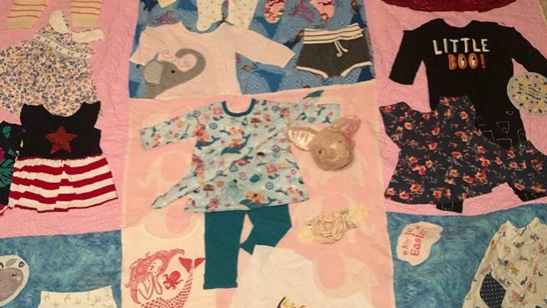 Large throw size baby clothes quilt 1st year memory quilts
