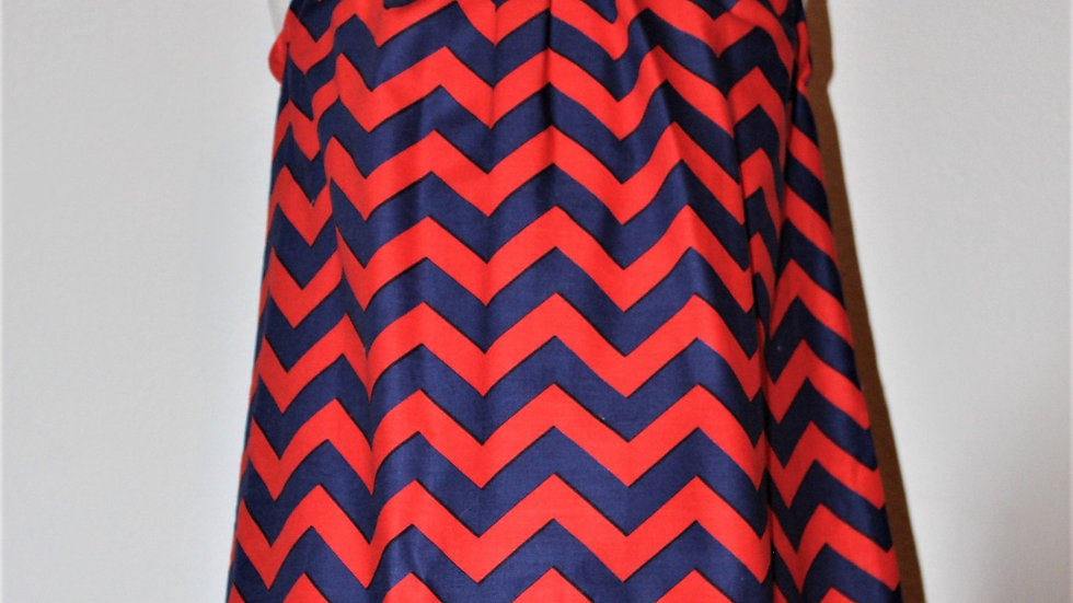 "Red white blue chevron pillowcase dress with matching doll dress 18"" doll dress"