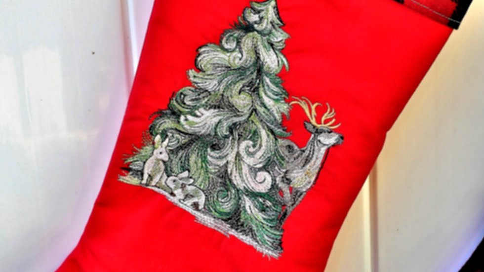 Woodland forest farmstyle Christmas stocking personalized Christmas stockings