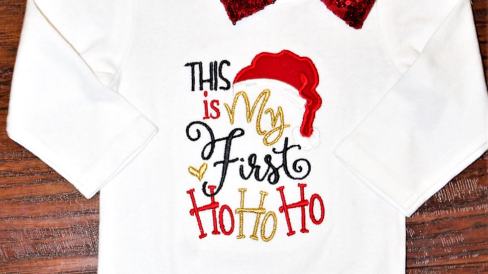 Baby girl 1st Christmas bodysuit Red metallic large bow headband First Christmas