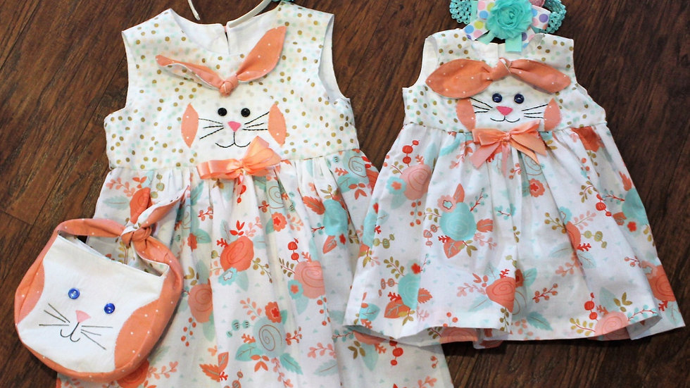 Easter Rabbit dress and matching sibling dress