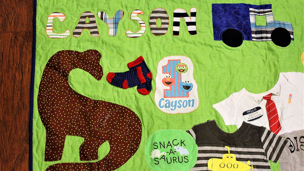 Boy quilt made from baby clothes first year memory quilt clothes line quilt