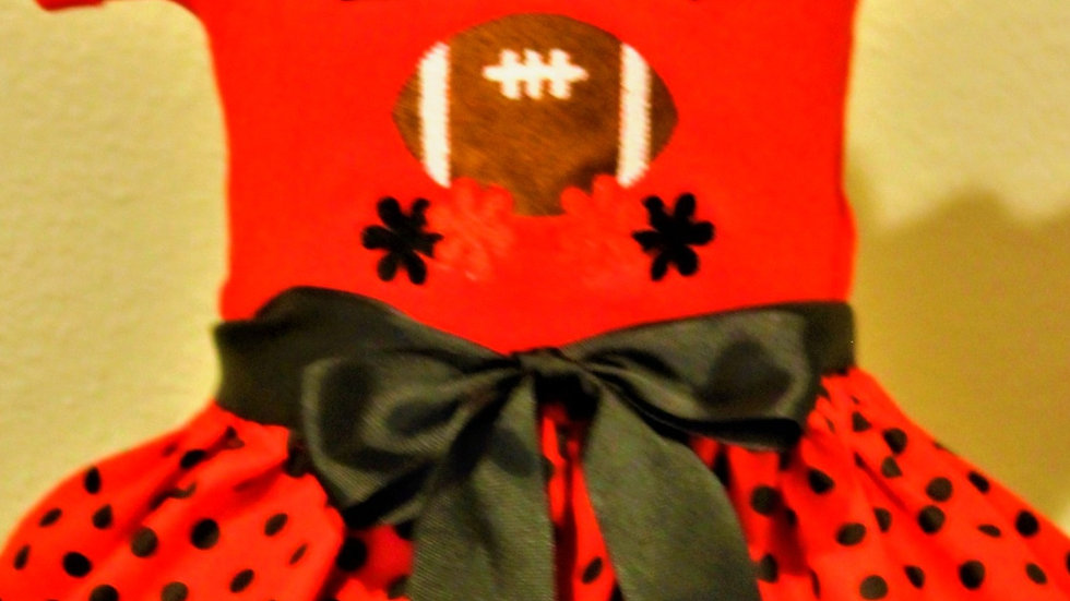 Red and black baby girl football dress baby shower gift
