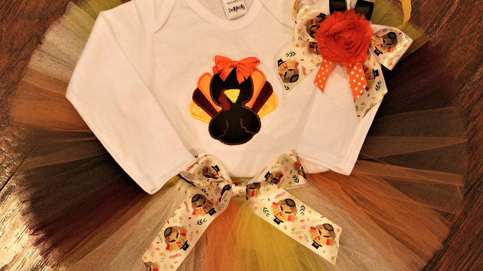 Girl Thanksgiving turkey outfit personalized turkey shirt, fall tutu