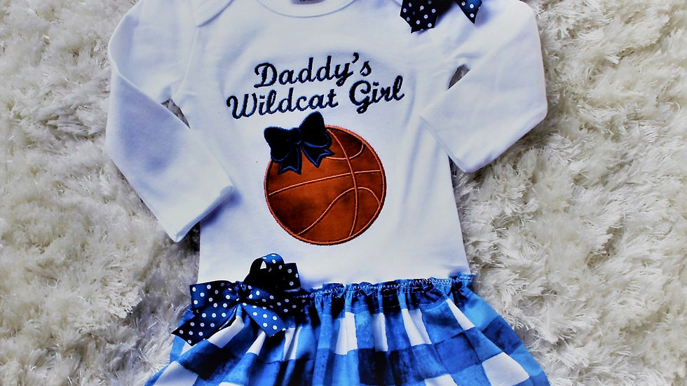 Team basketball baby girl dress, blue and white check baby dress orange and blue