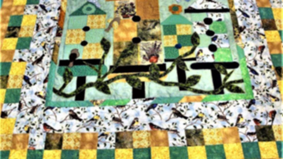 Bird lover handmade aqua blue gold throw size quilt wall hanging quilt