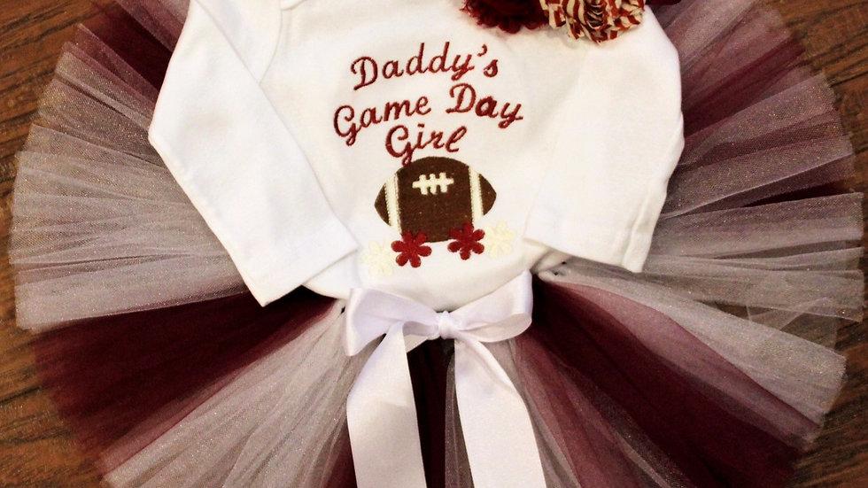 Girl football shirt crimson and cream tutu Daddy's girl