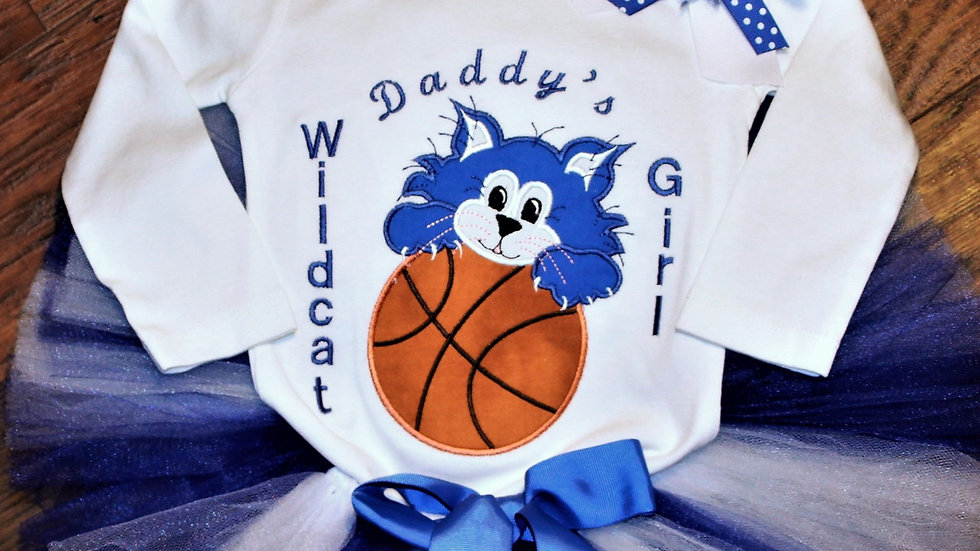 Blue and white basketball sports outfit girl basketball shirt blue white tutu