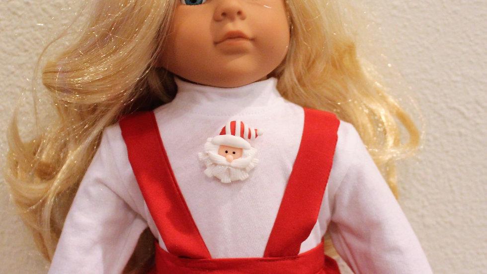 """Christmas suspender skirt white turtleneck doll clothes for 18"""" doll Santa shirt"""