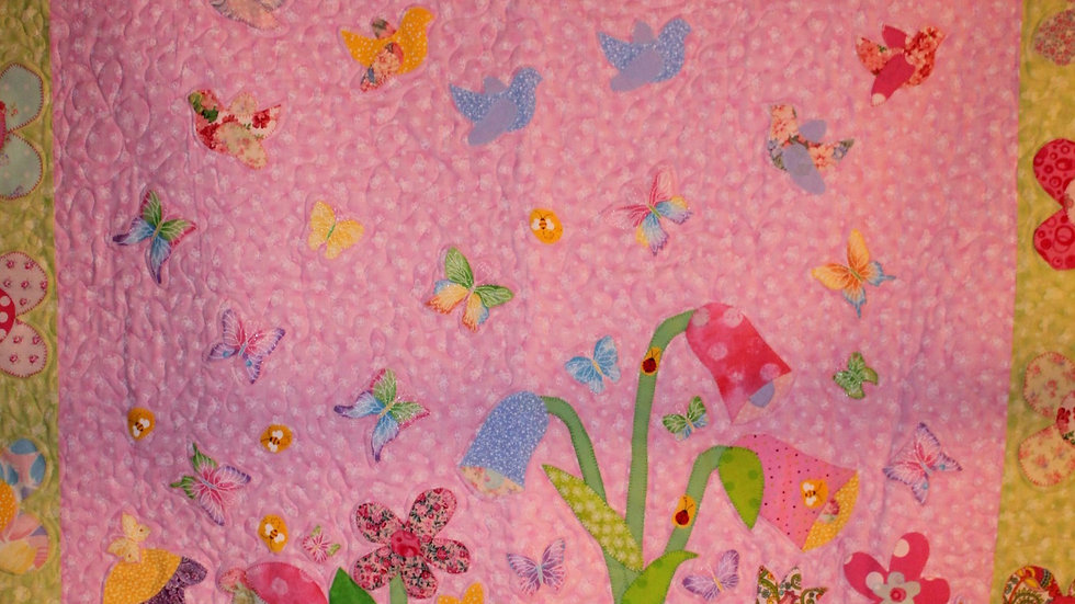 Personalized baby girl Flower garden quilt handmade pink and green floral quilt