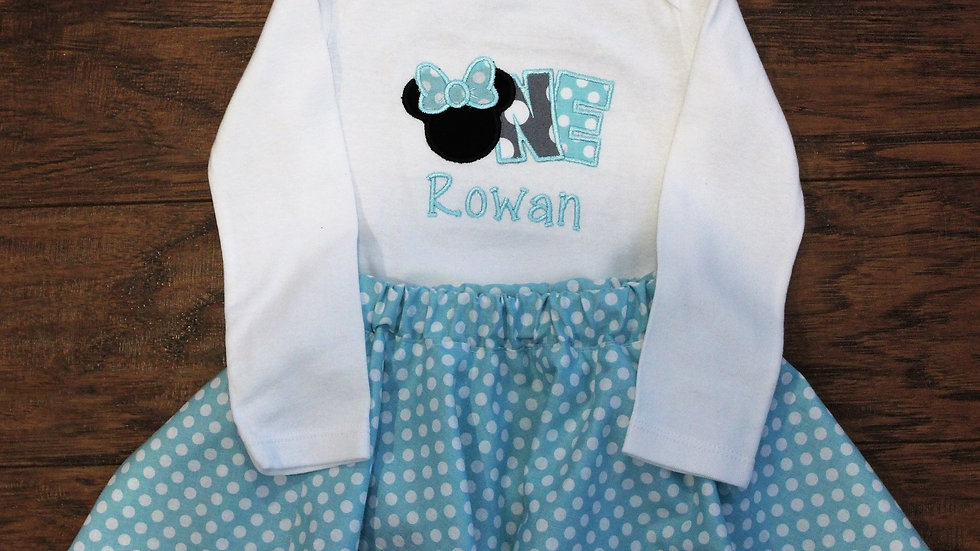 Baby girl 1st birthday aqua blue and white polka dot mouse outfit