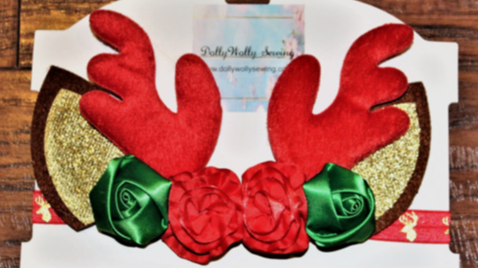 Red nose reindeer Christmas headband red antler deer headband