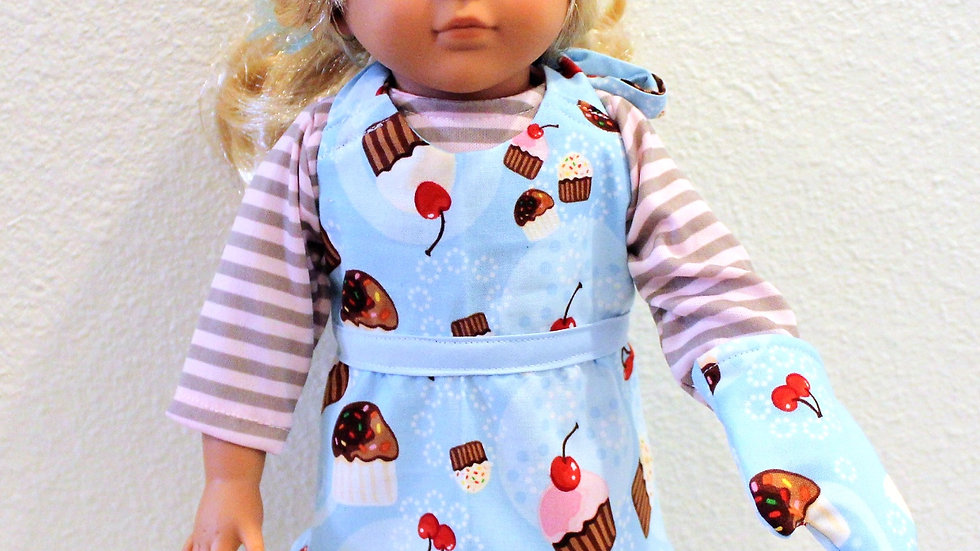 "18"" doll apron and baking mitt blue cupcake baking outfit doll clothes"
