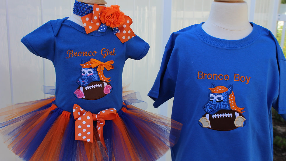Bronco boy shirt sibling outfits girl Bronco orange and blue outfit
