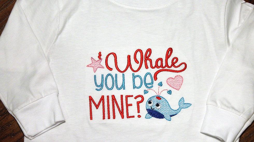 Boy or girl Valentine's Day shirt, nautical whale shirt