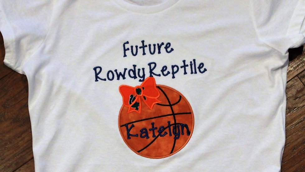 Girl future rowdy reptile basketball shirt orange and blue gator shirt