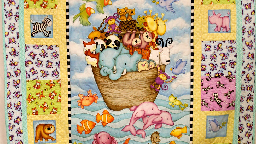 Noah's Ark baby quilt crib size religious quilt baby boy baby girl