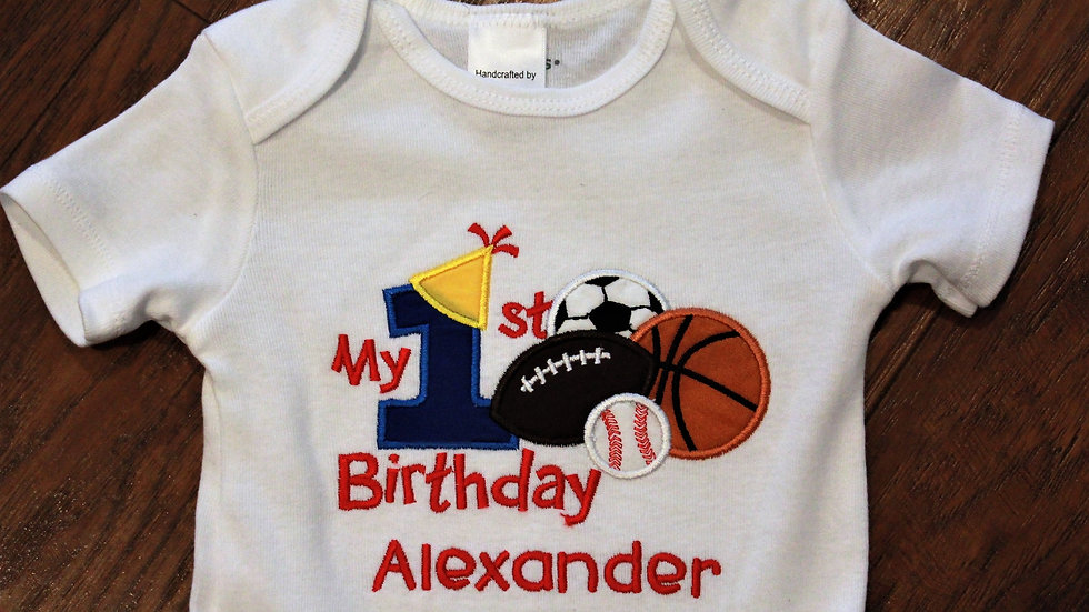 All star sports 1st birthday bodysuit personalized football basketball baseball