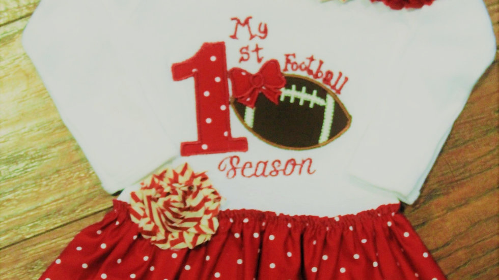 Crimson and white football dress 1st football season outfit crimson headband