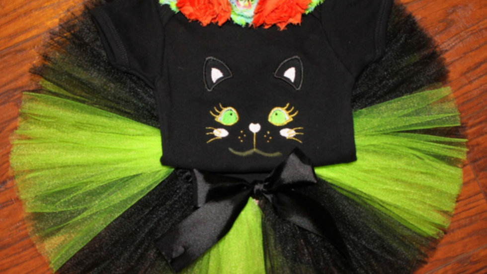 Girl black cat Halloween costume cat headband black lime green tutu