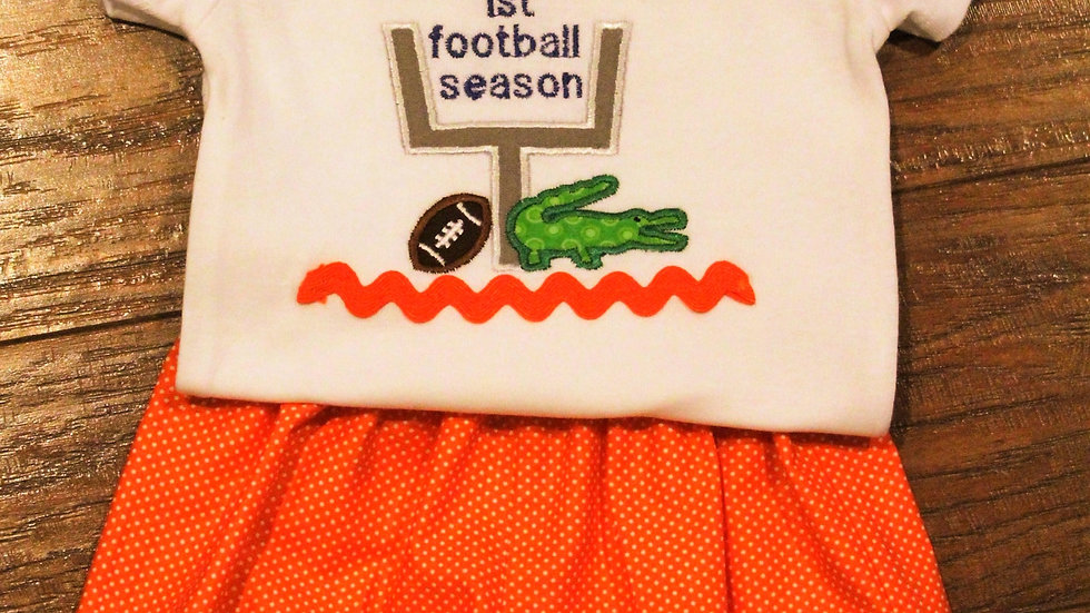 Alligator My first football season personalized baby boy bodysuit orange shorts