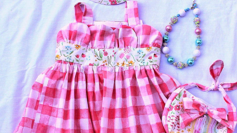 Pink and white check Easter Bunny dress, Easter bonnet, purse, necklace