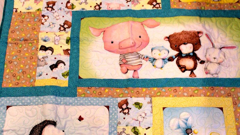 Woodland creature baby quilt, pig, teddy bear, hedgehog, fox, birds, turtle