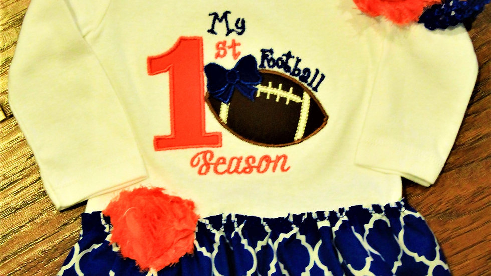 My 1st football season baby girl football dress orange and blue bodysuit