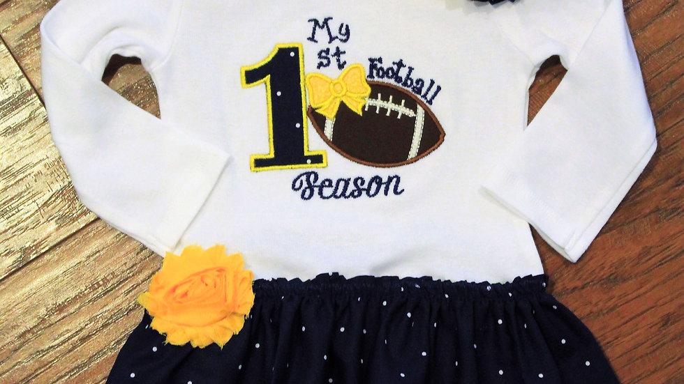 1st football season baby girl dress maize and blue Michigan