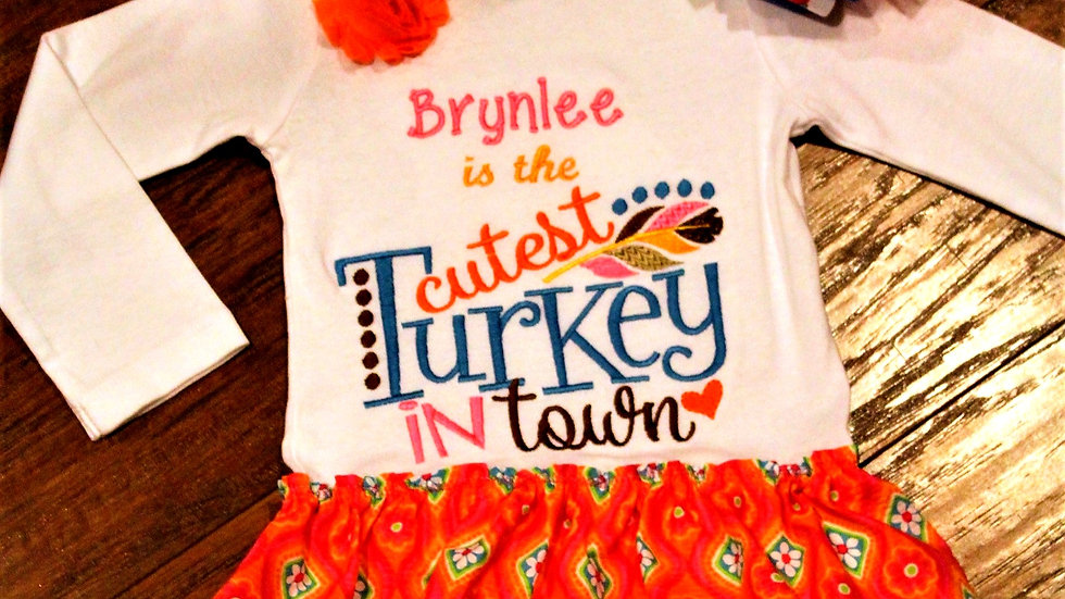 Personalized Thanksgiving dress cutest turkey in town baby girl