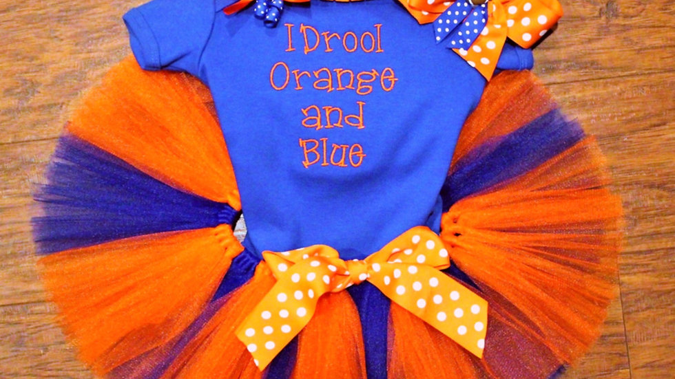Baby girl orange and blue sports outfit baby girl tutu