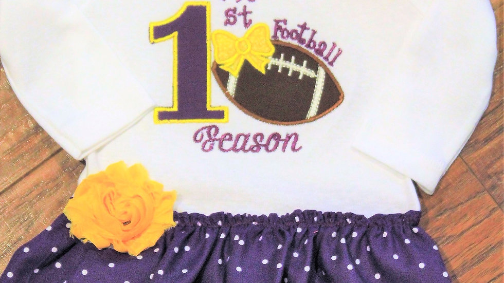 1st football season baby girl dress purple and gold Louisianna