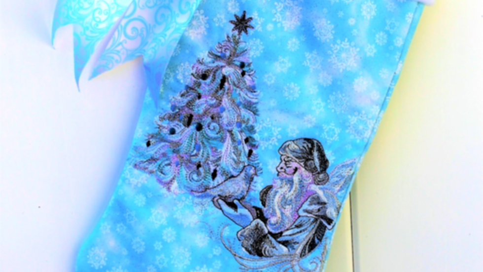 Ole man Christmas stocking aqua blue snowflake embroidered personalized stocking