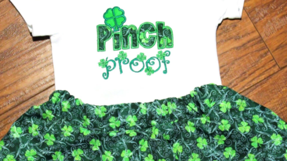 Girl St. Patrick's Day Pinch proof four leaf clover t shirt and skirt