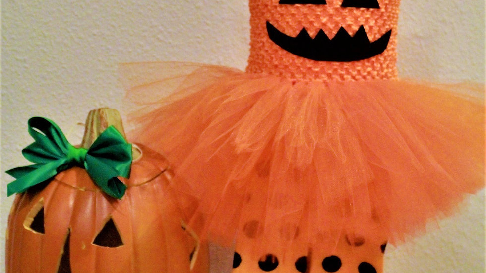 Baby girl Pumpkin Halloween costume orange jack o lantern tutu dress