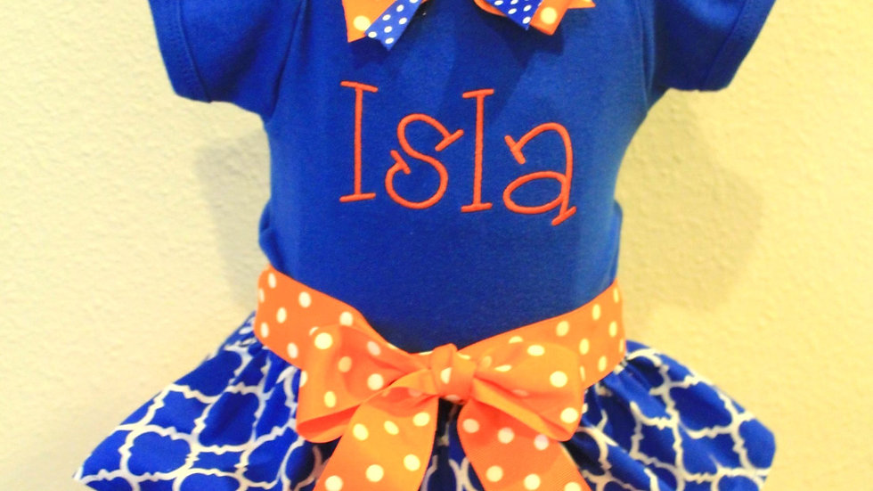 Baby girl orange and blue personalized bodysuit dress baby football outfit