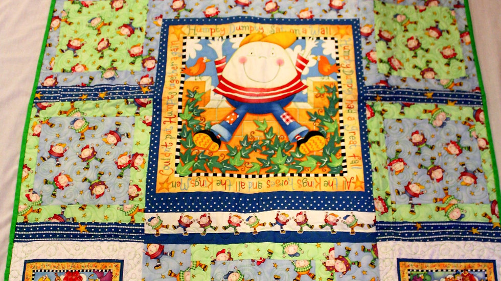 Humpty Dumpty Nursery Rhyme baby quilt primary color quilts