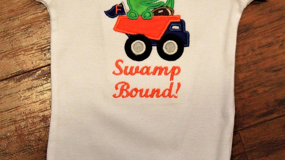 Alligator baby boy football bodysuit orange and blue gator shirt