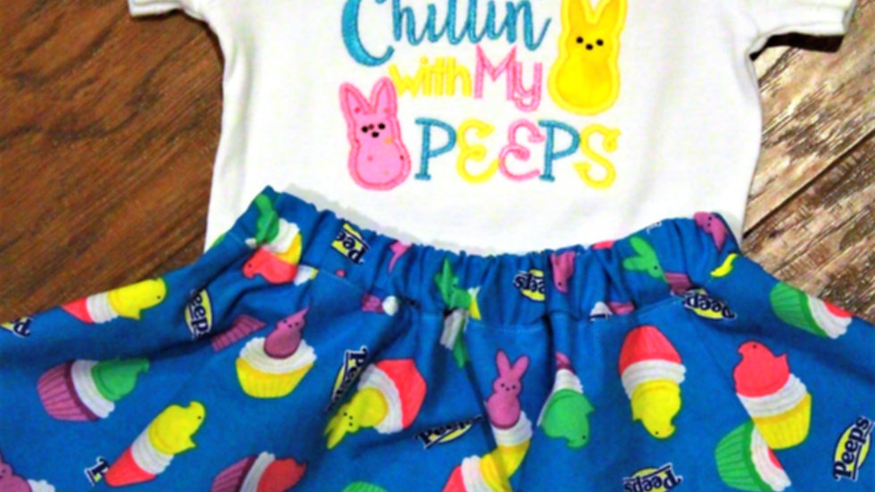 Chillin with my peeps baby girl Easter outfit twirl skirt Easter bodysuit