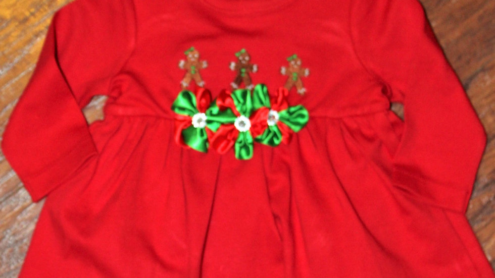 Baby girl Gingerbread red Christmas dress Christmas bodysuit dress