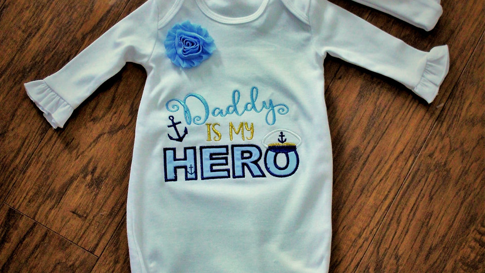 Navy dad baby shower gift nautical baby girl gown take me home set
