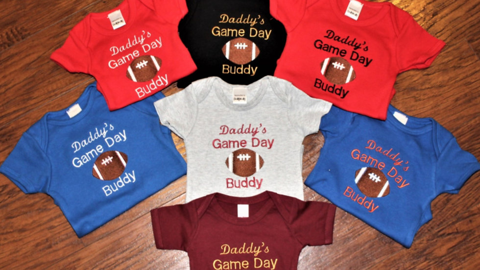 Pick your team, pick your school colors baby boy football bodysuit