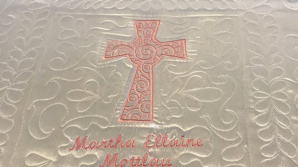 White satin baptism quilt christening blanket personalized embroidered cross