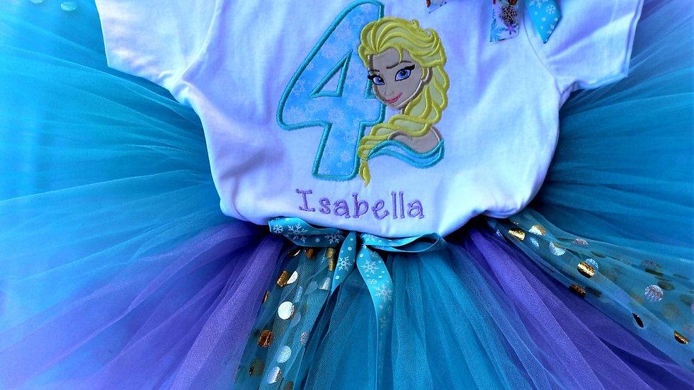 Ice princess 4th birthday outfit, Elsa frozen theme birthday shirt tutu headband