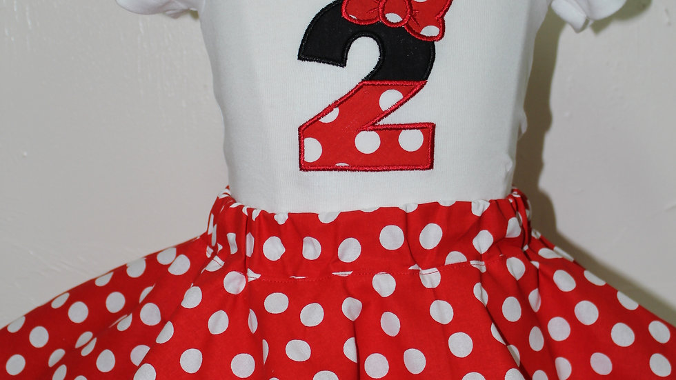 Girl Mouse 2nd birthday outfit second birthday shirt red polka dot skirt
