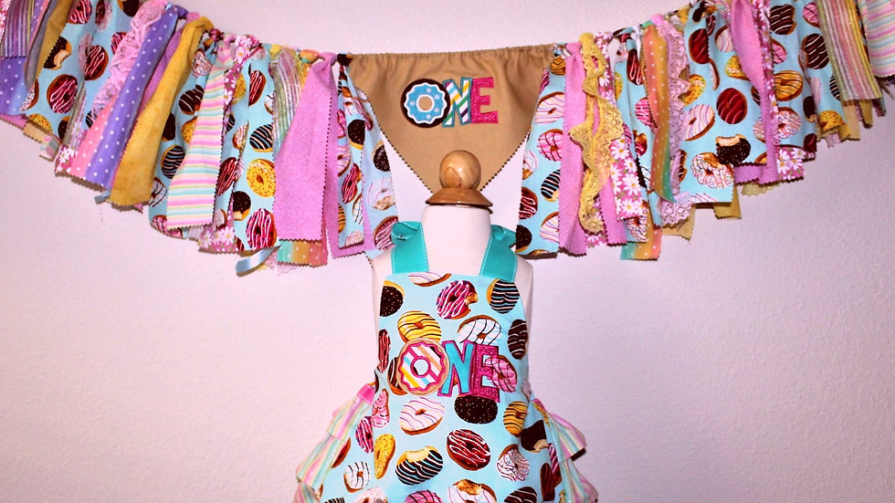 Donut ONE first birthday girl sunsuit ruffle bloomer