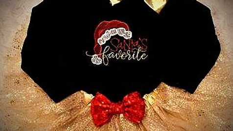 Santa's Favorite baby girl Christmas outfit gold tutu gold big bow headband